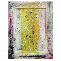 Abstract Painting Yellow White Minimal textured Small Original Modern Raw Art