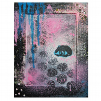 Modern Abstract Painting Graffiti Urban Expressionist Street Art Pink Black Blue
