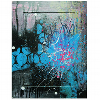 Abstract Art Small Urban Modern Painting Colourful Expressionist Blue Black Pink