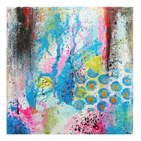 Abstract Painting Modern Canvas Wall Art Colourful Expressionist Small Original