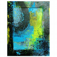 Colourful Abstract Wall Art Painting Hand Painted Small Urban Blue Black Yellow