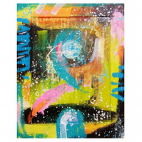 Abstract Painting Colourful Modern Contemporary Art Funky Urban Collage Acrylic