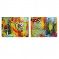 Abstract Paintings Pair Colourful Bright Modern Artworks Contemporary Decor