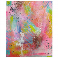 Abstract Painting Acrylic on Canvas Textured Wall Art Soft Boho Colours 10 x 12""