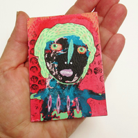 Weird ACEO Tiny Portrait Painting Outsider Folk Art Colourful Odd People