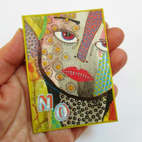 ACEO Hand Embellished Print Surreal Portrait Face Miniature Art Trading Card