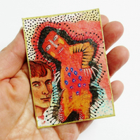 ACEO Hand Embellished Print Mixed Media Collage Miniature Art Trading Card
