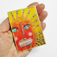 ACEO Embellished Print Quirky Portrait Face Funky Miniature Art Trading Card