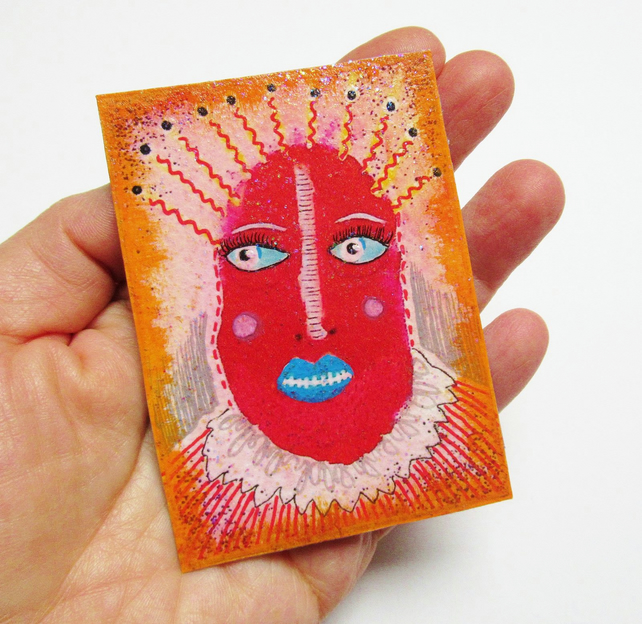 ACEO Altered Art Print Weird Face Portrait Unusual Alternative Mini Tiny Artwork