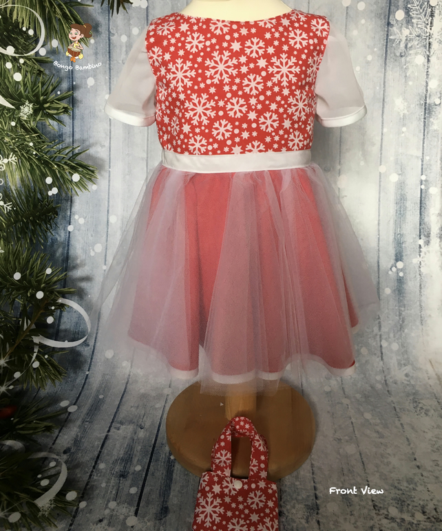 Girl's Christmas Party Dress Red and White with Tulle Overskirt