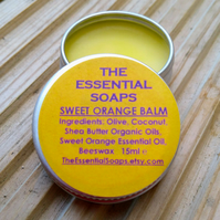 Organic Orange Balm, Lip Balm,Elbow Balm, Feet Balm, 15ml, Skincare