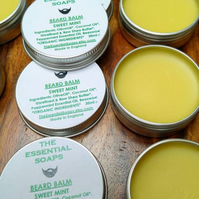 Organic Sweet Mint Beard Balm, Moustache Balm, Gift for Him, Moisturising