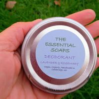 Organic Lavender & Rosemary Natural Deodorant, Handmade, For Women & Men, Vegan