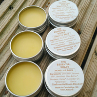 Organic Honey Lip Balm, Moisturiser, Lip Care, Travel Size, Soothing Balm