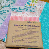 Natural Beeswax Food Wrap, Set of 3 Medium, Eco-friendly, Reusable, Beeswax