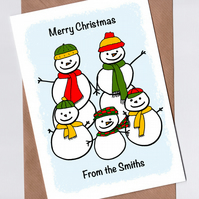 Custom Snow Family Christmas Card
