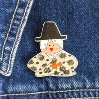 Welsh Lady Head & Shoulders - hand made Pin, Badge, Brooch