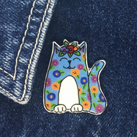 Frida's Cat - Blue Floral Cat - hand made Pin, Badge, Brooch
