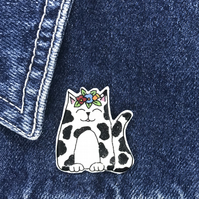 Frida's Cat - White & Black Cat - hand made Pin, Badge, Brooch