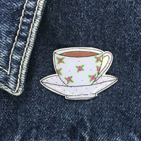 Vintage Rose Bud Tea Cup and Saucer - hand made Pin, Badge, Brooch