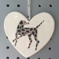 Spotty Dog - Hand Painted Ceramic Heart