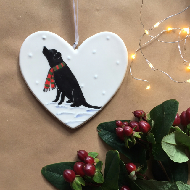 Black Labrador in the snow - Hand painted ceramic heart