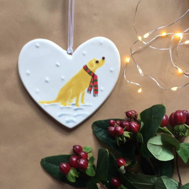 Golden Labrador in the snow - Hand Painted Ceramic Heart