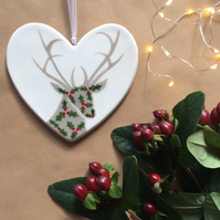 Holly Stag - Hand Painted Ceramic Heart