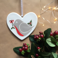 Little Robin Red Breast - Hand Painted Ceramic Heart