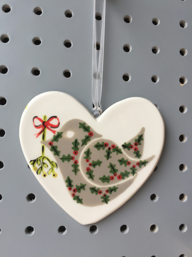 Holly Bird with Mistletoe - Hand Painted Ceramic Heart