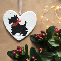 Scotty Dog with Holly Scarf - Hand Painted Ceramic Heart