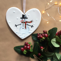 Frosty the Snowman - Hand Painted Ceramic Heart