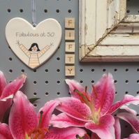 Fabulous at 50 - Hand Painted Ceramic Heart