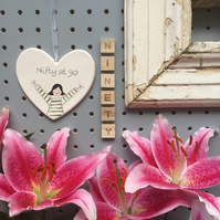 Nifty at 90 - Hand Painted Ceramic Heart