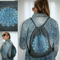 Blue mandala print handmade charcoal drawstring Eco bag, light backpack, gift