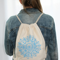 Blue Geometric Mandala print,cream drawstring bag,lightweight backpack,Handmade