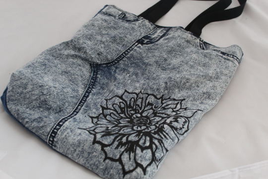 Handmade blue up cycled stone wash denim Tote bag, floral screen print Bag,gift