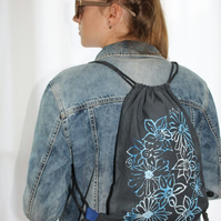 Blue floral print handmade charcoal drawstring bag,lightweight backpack,Eco bag