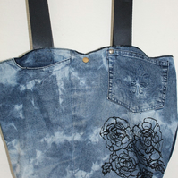 Handmade blue denim stonewash tote bag,up-cycled zero waste, recycled tote, gift