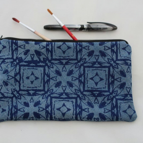 zip up blue bag, hand printed geometric print,Eco make up bag, pouch,pencil case