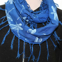Electric blue scarf,Eco infinity scarf,dragonfly print, soft loop scarf, gift
