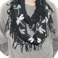 Navy Blue scarf,Eco infinity scarf,dragonfly print, soft loop scarf, gift