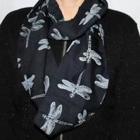 Navy Blue Eco infinity scarf,white dragonfly print, soft loop scarf, gift