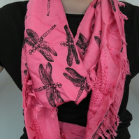 Pink tasseled scarf,Eco infinity scarf,dragonfly print, soft loop scarf, gift
