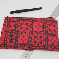 zip up beige make up bag, hand printed geometric print,Eco bag,pouch,pencil case