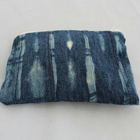 Eco zip up denim bag, make up bag, hand tie dyed, zero waste pouch,gift