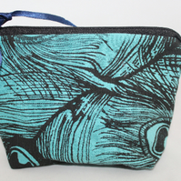 zip up make up bag,peacock feather hand print,Eco zero waste bag,pouch,gift