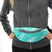 Handmade green bum bag, festival bag, Eco hip belt bag,dragonfly hand print,gift