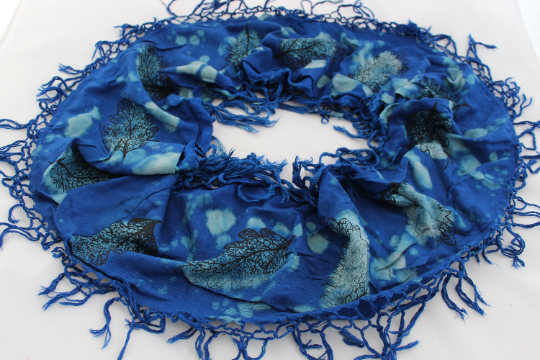 Blue and turquoise tasseled infinity scarf, hand print oak leaf, hand dyed, gift