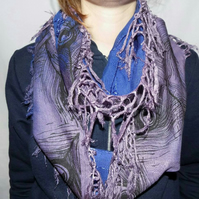 Ombre infinity zero waste scarf,blue and purple dip dyed peacock print,gift.